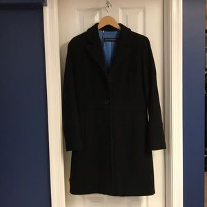Black wool blend pea coat